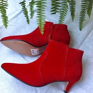 Clark's Collection Red Suede Booties.